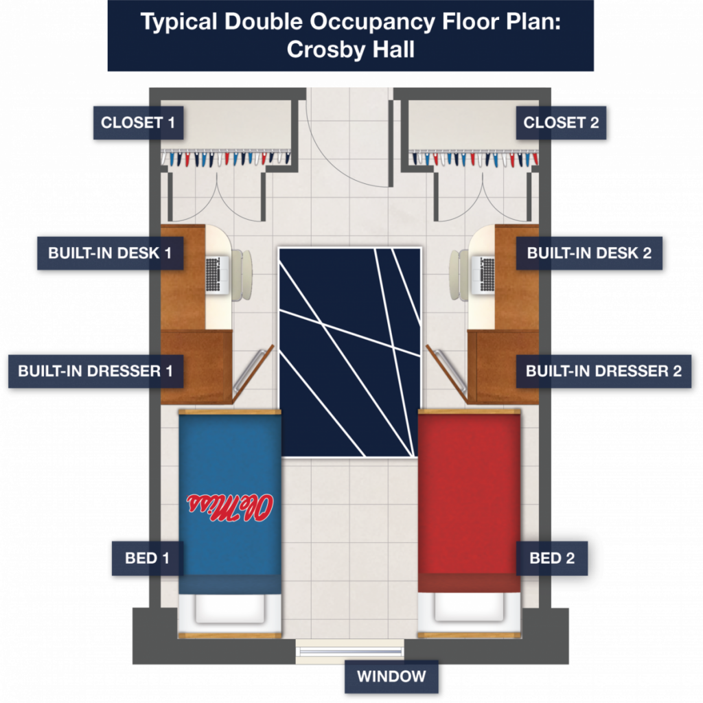 Typical Double Occupancy Floor Plan: Crosby Hall